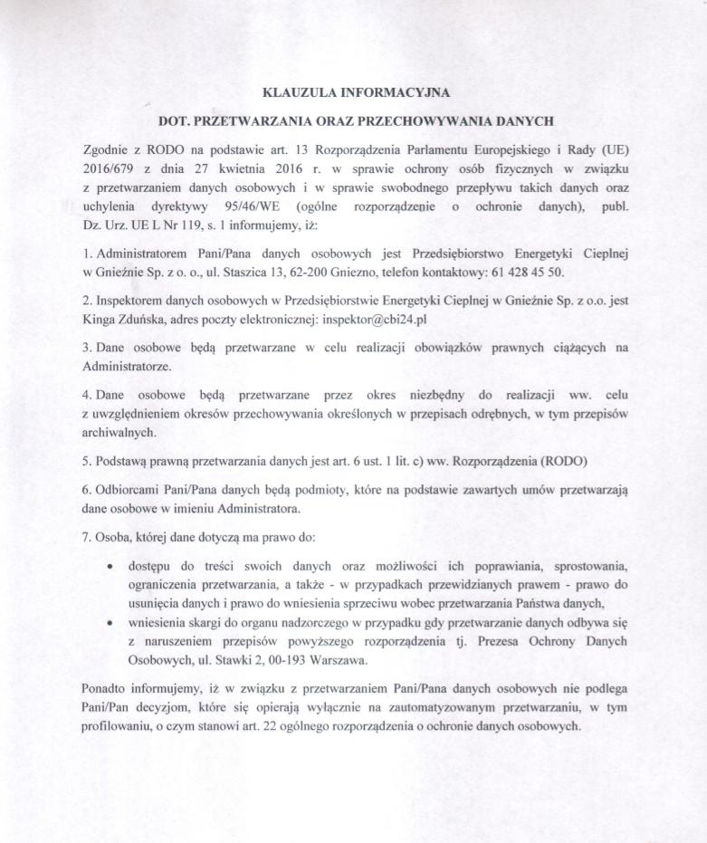 Klauzula informacyjna